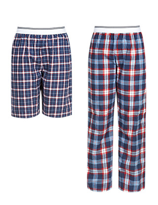 2 Pack Pure Cotton Checked Pyjama Bottoms (5-14 Years) Clothing