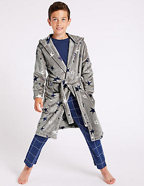 Star Print Hooded Dressing Gown (1-16 Years), MULTI, catlanding