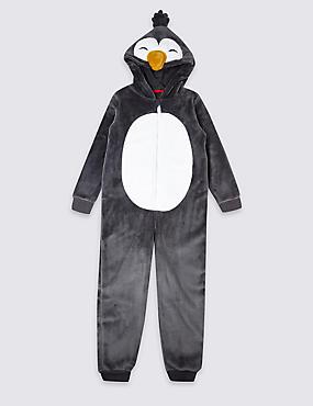 Hooded Penguin Onesie (1-16 Years), BLACK, catlanding