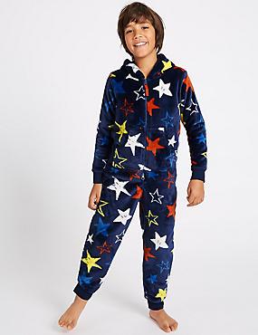 Hooded Star Print Onesie (1-16 Years), NAVY MIX, catlanding