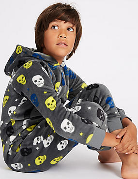Skull Print Hooded Onesie (1-16 Years)