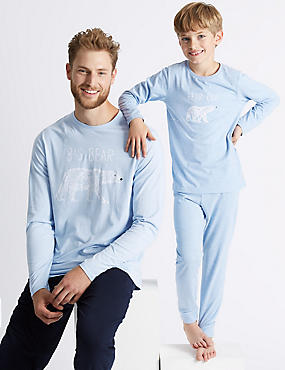 Mini Me Polar Bear Pyjamas (3-16 Years), PALE BLUE, catlanding