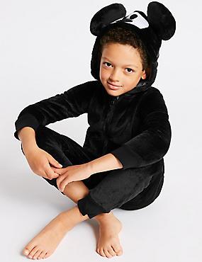 Mickey Mouse™ Hooded Onesie (1-16 Years), BLACK, catlanding