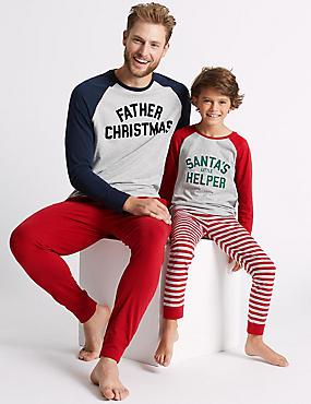 Santa Mini Me Pyjamas (1-16 Years), GREY MARL, catlanding