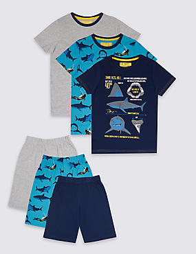 3 Pack Shark Pyjamas (3-16 Years)