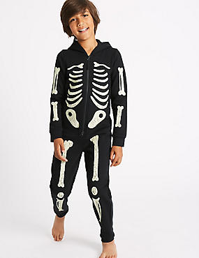 Cotton Rich Skeleton Print Onesie (1-16 Years)