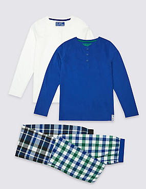2 Pack Placket Checked Pyjamas (3-16 Years)