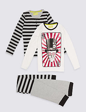 2 Pack Long Sleeve Pyjamas (3-16 Years)