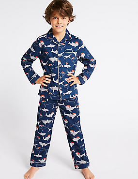 Pure Cotton Pyjamas (1-16 Years), NAVY, catlanding
