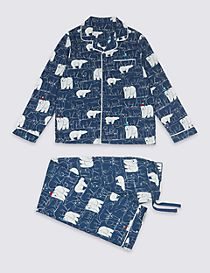 Pure Cotton Bear Print Pyjamas (1-16 Years)