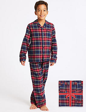 Pure Cotton Checked Pyjamas (1-16 Years)