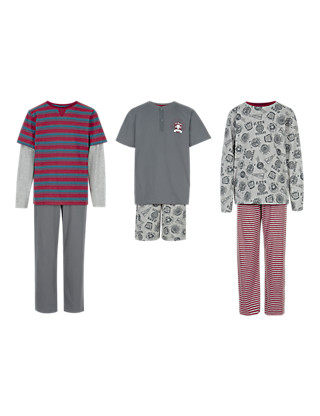 3 Pack Cotton Rich Assorted Pyjamas (5-14 Years) Clothing
