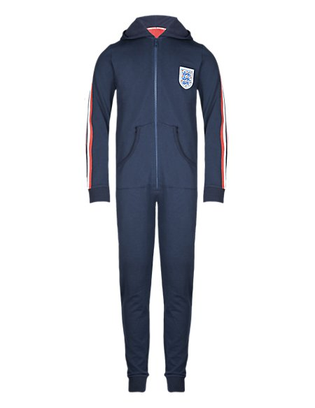 England FA Pure Cotton 3 Lions Hooded Sweat Onesie (5-14 Years)