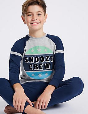 Snooze Crew Print Pyjamas (3-16 Years)