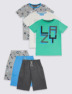 3 Pack Printed Short Pyjamas (3-16 Years), GREY MIX, catlanding