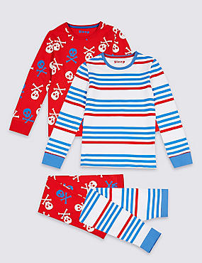 2 Pack Pyjamas with Stretch (3-16 Years)