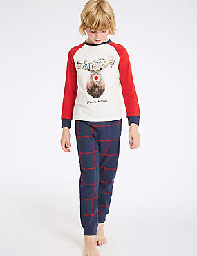 Pure Cotton Reindeer Pyjamas (3-16 Years)