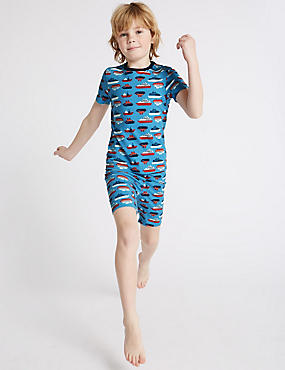 Cotton Printed Short Pyjamas with Stretch (1-16 Years)