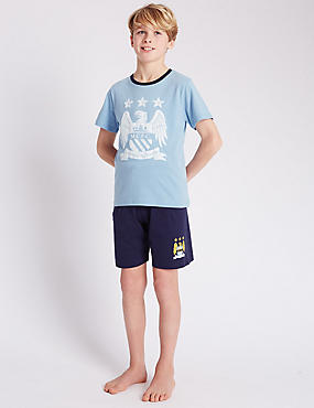 Pure Cotton Stay Soft Manchester City Football Club Short Pyjamas (3-16 Years)
