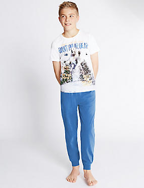 Pure Cotton Polar Bear Pyjamas (3-16 Years)