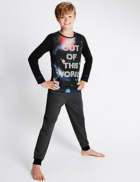 Cotton Rich Out Of World Slogan Pyjamas (6-16 Years)