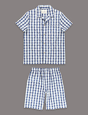 Pure Cotton Gingham Checked Short Pyjamas (1-16 Years)