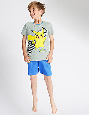 Cotton Blend Pokemon Boys Shortie Pyjamas (2-12 Years)