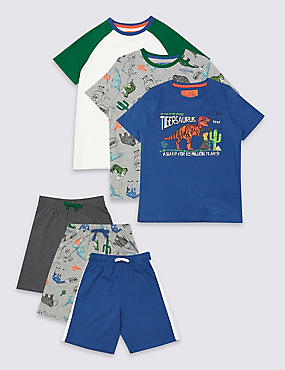 3 Pack Short Sleeve Pyjamas (3-16 Years)