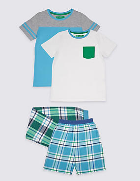 2 Pack Pure Cotton Mixed Pyjamas (3-16 Years)