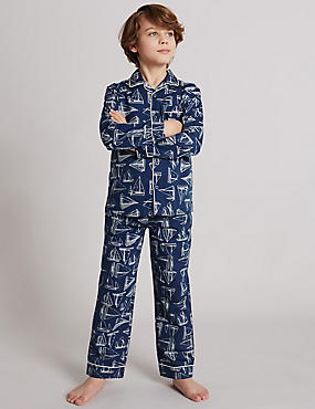 Pure Cotton Boat Print Pyjamas (1-16 Years)