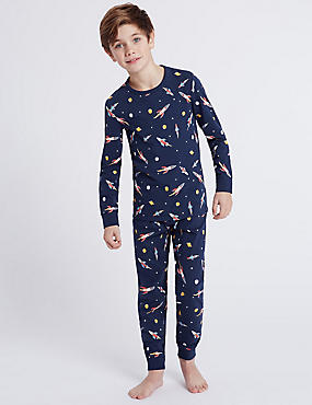 All Over Rocket Print Pyjamas (1-16 Years)
