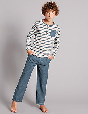 Pure Cotton Herringbone Striped Pyjamas (1-16 Year)