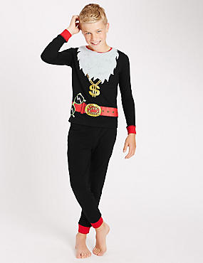 Pure Cotton Crew Neck Pyjamas (6-16 Years)