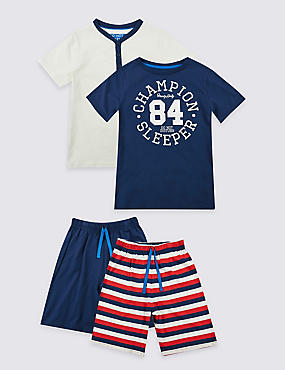 2 Pack Pure Cotton Short Pyjamas (3-16 Years)