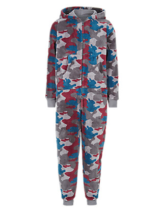 Anti Bobble Hooded Camouflage Onesie (5-14 Years) Clothing