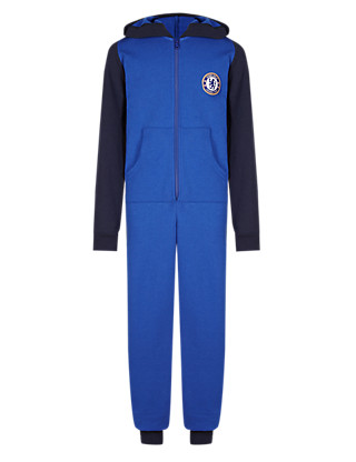 Pure Cotton Chelsea F.C Sweat Hooded Onesie Clothing