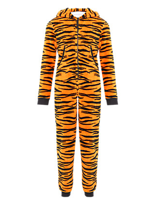 Hooded Tiger Fleece Soft & Cosy Onesie with StayNEW™ Clothing