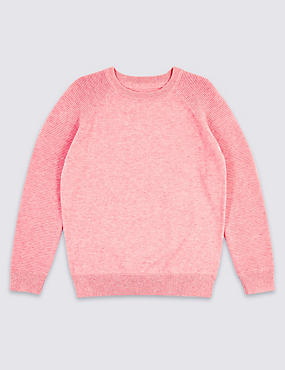 Pure Cotton Ribbed Jumper (3-16 Years), PINK, catlanding