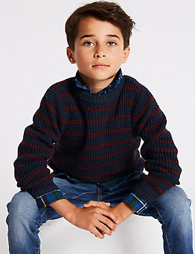 Cotton Rich Knitted Striped Jumper (3-16 Years), NAVY MIX, catlanding