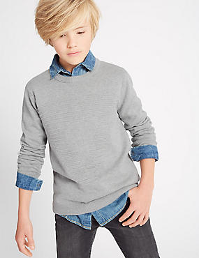 Pure Cotton Crew Neck Jumper (3-14 Years)