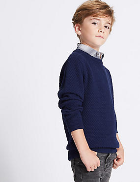 Cotton Rich Mock Shirt Knitted Jumper (3-14 Years)