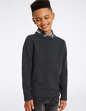 Cotton Rich Mock Shirt Jumper (3-14 Years)