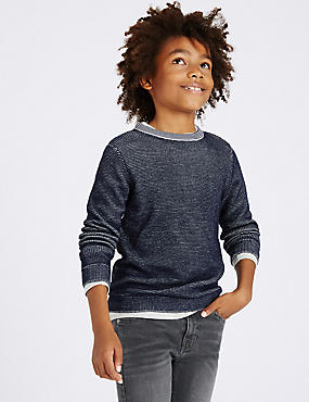 Cotton Blend Knitted Sweatshirt (3-14 Years)