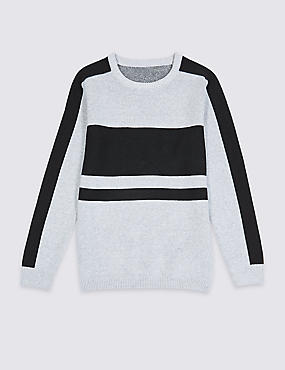 Pure Cotton Jumper (3-16 Years), GREY MIX, catlanding