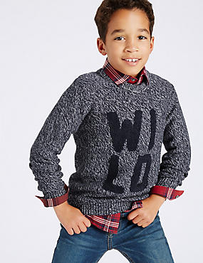 Pure Cotton Knitted Jumper (3-14 Years)