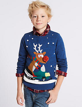 Cotton Rich Snowman Reindeer Jumper (3-14 Years)