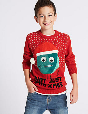 Pure Cotton Christmas Jumper (3-14 Years)