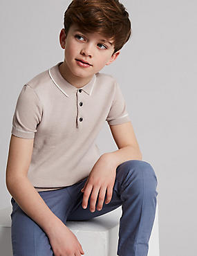 Cotton Rich Knitted Polo Shirt (3-16 Years), LIGHT PINK, catlanding