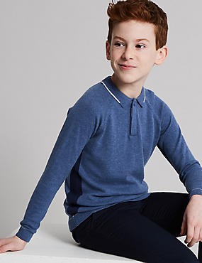 Cotton Blend Knitted Polo Shirt (3-16 Years), MID BLUE, catlanding