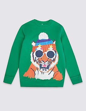 Cotton Rich Sweatshirt (3-16 Years), MULTI, catlanding